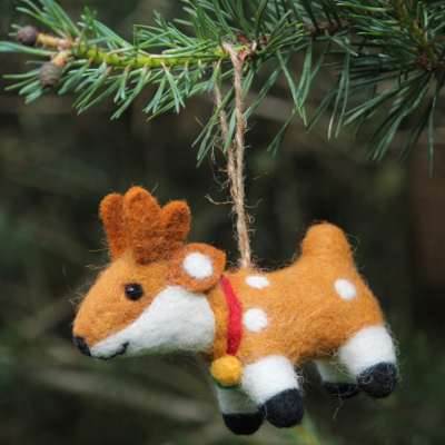 Hanging Christmas decoration, felt reindeer