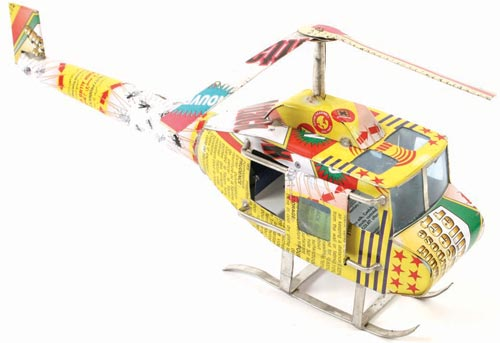 Helicopter made from recycled cans 23cm