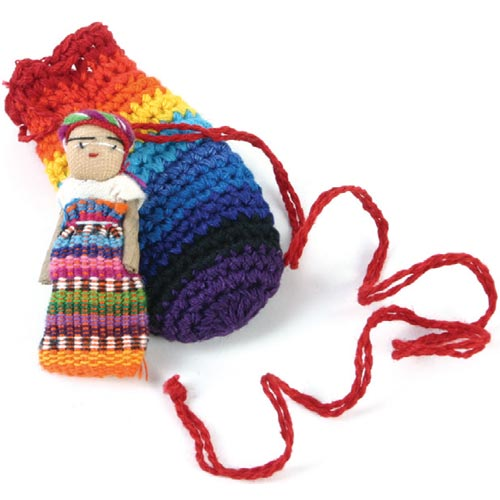 Worry doll in small crochet bag