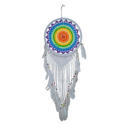 Dreamcatcher rainbow with white outer and tassels 32cm