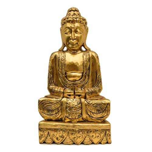 Buddha carved wood, gold colour 51cm height