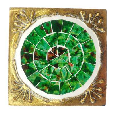 Set of 4 gold coloured square coasters, green mosaic