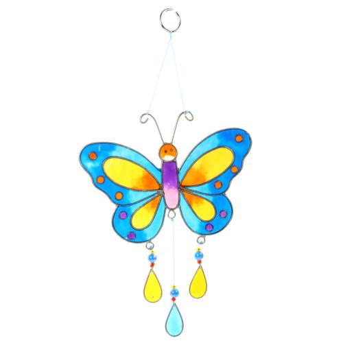 Suncatcher butterfly blue yellow 14x17cm