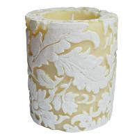 Candle damask leaf white + ivory, 7.5cm recessed