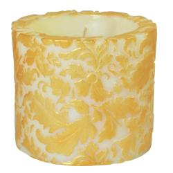 Candle damask leaf gold + white, 10cm recessed