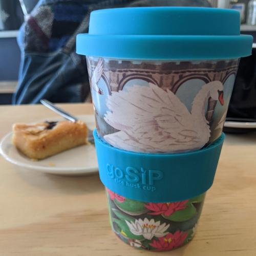 Reusable travel cup, biodegradable, lily pond & waterfowl