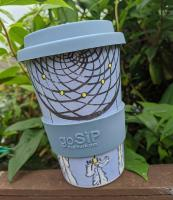 Reusable travel cup, biodegradable, dreamcatcher dusk