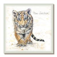 "Greetings card, ""Paw-fection"", new tiger cub"