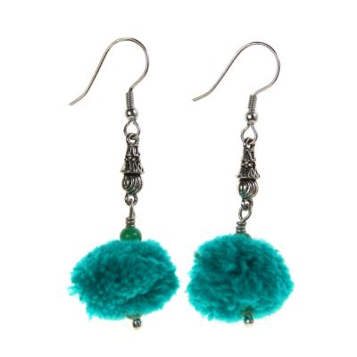 Earrings, silver coloured metal detail with turquoise pompom