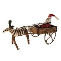 Christmas decoration, Santa in cart with zebra