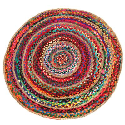 Rag rug, round recycled polyester & jute, 90cm diameter