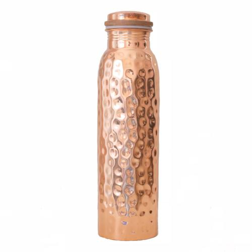 Copper water bottle, hammered, 900ml