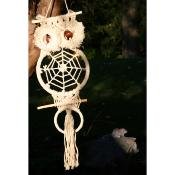 Dreamcatcher owl with macrame 60cm length