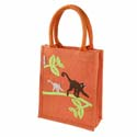 Jute shopping bag, small, monkeys