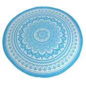 Throw/bedspread, 210x230cm, mandala circle blue