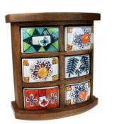 Wooden mini chest, 6 ceramic drawers