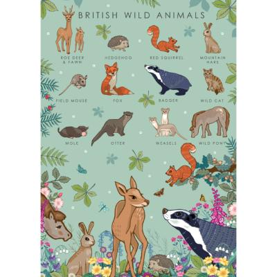 "Greetings card ""British wild animals"" 12x17cm"