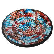 Bowl, mosaic, 28cm red and blue graffiti