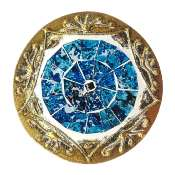 Set of 4 gold coloured round coasters, blue mosaic