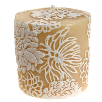 Candle Japanese chrysanthemum white + ivory, 7.5cm flat