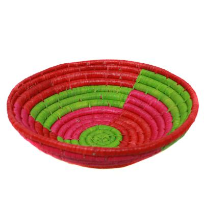 Raffia fruit basket, red base, 24cm