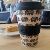 Reusable travel cup, biodegradable, black elephant
