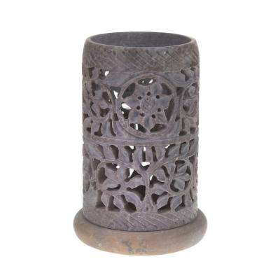 Soapstone t-lite holder, flowers & leaves design