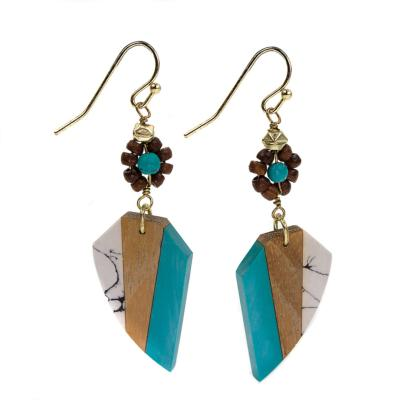 Earrings 5 sided shape turquoise brown grey