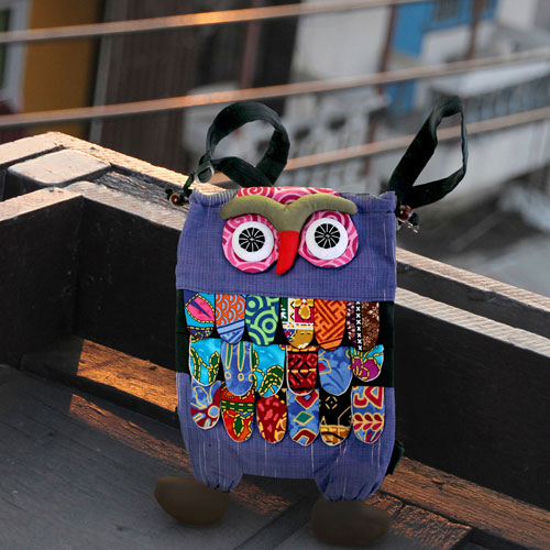 Backpack, fabric, owl assorted colours 22x33cm **