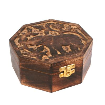 Box mango wood elephant design octagonal 15x15x7cm