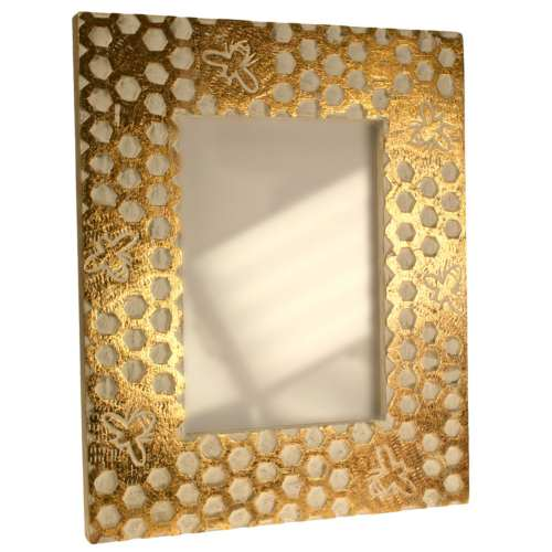 Photo frame, mango wood honeycomb design 7x5in photo