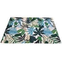 Rug indoor or outdoor, made recycled plastic 80 x 120cm leaves