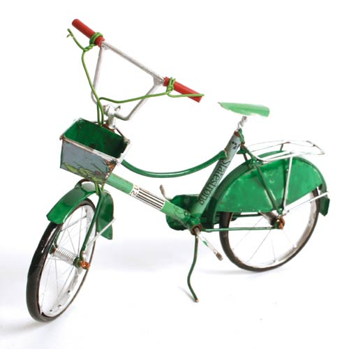 Classic bicycle recycled cans 15cm