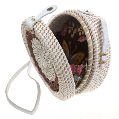Shoulder bag, rattan, round, faux leather strap, white/brown