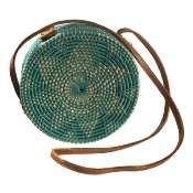 Shoulder bag, rattan, round, faux leather strap, green