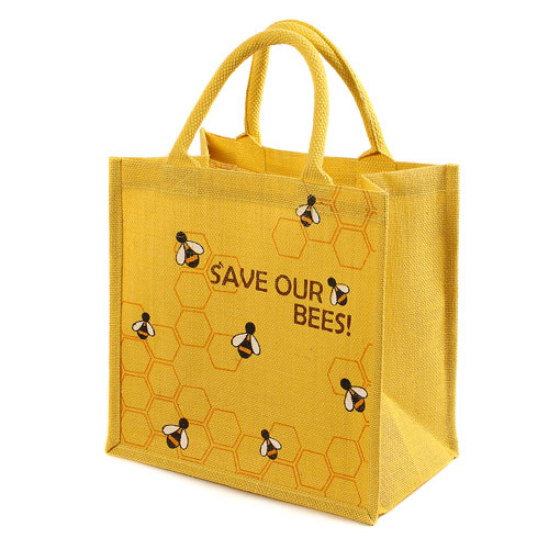 Jute shopping bag yellow Save Our Bees