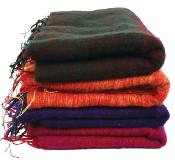Woollen scarf/shawl/stole plain, 195x80cm, assorted colours