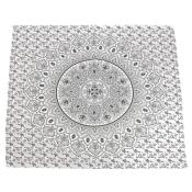 Throw/bedspread, 210x230cm, mandala circle black on white