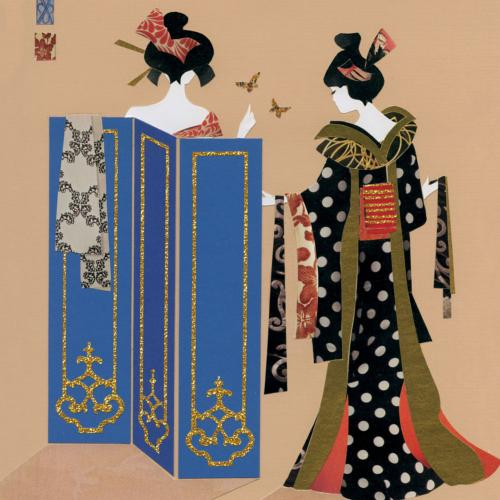 "Greetings card ""Japanese Ladies"" 16x16cm"