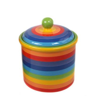 Rainbow ceramic storage jar, 11x14cm **