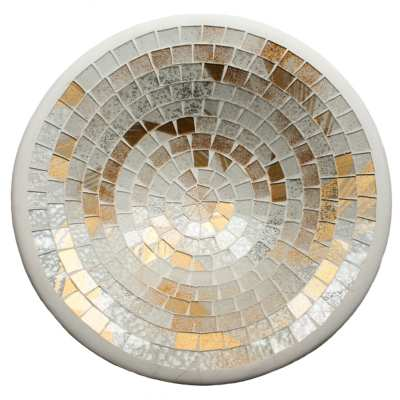 Bowl, mosaic, 30cm white + gold colour