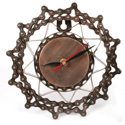 Clock 18cm diam recycled bike chain