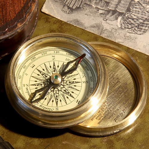 Compass in leather case