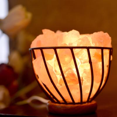 Himalayan salt lamp metal bowl with chips 15cm **