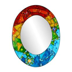 Mirror oval with mosaic surround 40cm rainbow