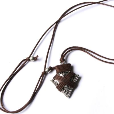 Necklace, men's/unisex, arrow with brown thread