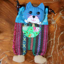 Shoulder purse, fabric, cat assorted colours 13 x 23cm **