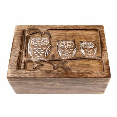 Box, mango wood, 3 owls 15x10x6cm