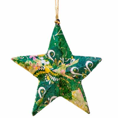 Hanging star, collage green, 10cm
