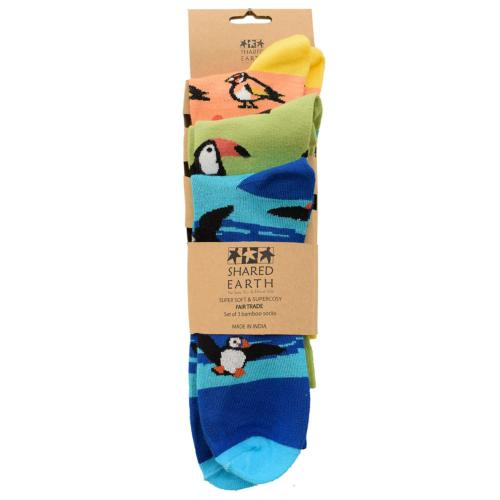 3 pairs of bamboo socks, puffins toucans goldfinches, Shoe size: UK 3-7, Euro 36-41